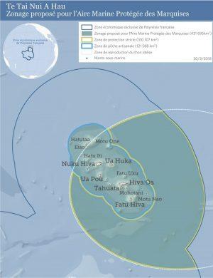 Zonage proposé par la CODIM pour le projet de grande Aire Marine Protégée des Marquises